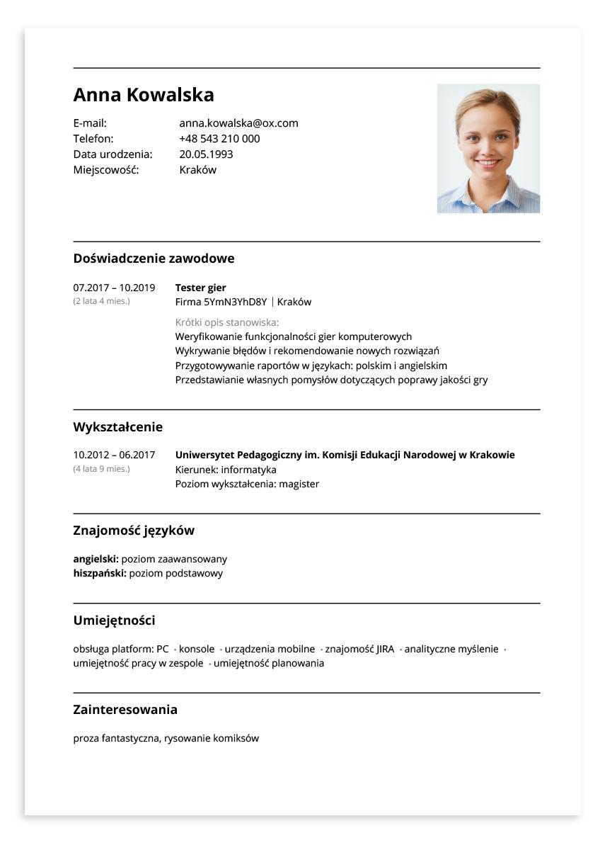 Przykładowe CV – tester gier