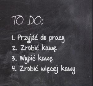 Lista TO DO wypisana na tablicy