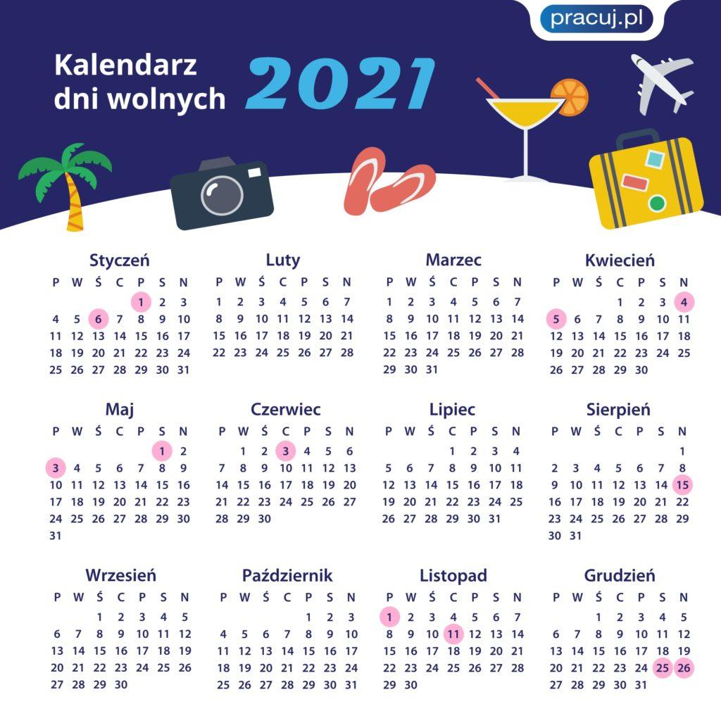 kalendarz dni wolnych 2021